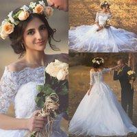 화이트 Bateau 국가 웨딩 드레스 하프 슬리브 보헤미안 웨딩 드레스 섹시한 Tulle 레이스 웨딩 드레스 Bridal Gowns 2015-Wedding-Dresses