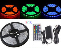 5m DC12V RGB LED Strip Light Bulb SMD 5050 IP65 Waterproof 300leds Multi Colors Changeable Flexible Ribbon Band+ 44 Keys IR Remote + Adapter