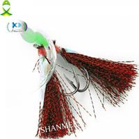 Jsm 20paquetes / lote Flasher Sabiki Bait Rigs con señuelos de pesca Luminous Beads pez piel giratoria ganchos de pesca con línea