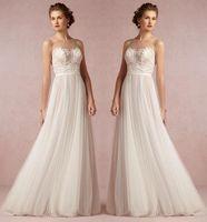 Beach Wedding Dresses Vintage Lace Applique A Line Sheer Jew...