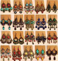 2018 nueva moda vintage tibetano plateado / bronce resina gema diamante pendientes bohemia estilo joyería mezclada 24 style / lot