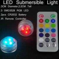 12 pçs / lote LEVOU floralytes submersíveis Remoto controlado floral chá Luz Vela w / temporizador controlador RGB cor-mudança de Casamento Xmas