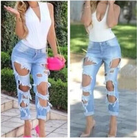 Womens Ladies Skinny Faded Ripped Casual Slim Fit Cool Denim...