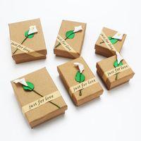 Kraft Boîtes à bijoux Colliers Bracelets Bagues Boucles d'oreilles Ensemble de bijoux Boîte de rangement Cajas De Regalo Coffrets cadeaux Caixas Para Presente 0670WH