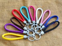 Promotion 14 Color Colorful PU Leather Key Chains Braided Ke...