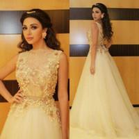 Myriam Tarife 2021 Prom Kleider hellgelber Spitze Sheer Hals Applique Perlen Mieder Abendkleider Tüll Eine Linie formale Partykleider