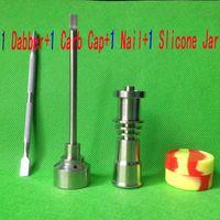 Bong Aracı Set 16mm Domeless Gr2 Titanyum Tırnak Carb Cap Dabber Slicone Kavanoz Cam Bong Sigara Su Borular