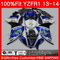 YAMAHA YZF 1000 용 YZF R1 YZF-1000 용 Movistar Blue YZF-R1 13 14 8NO7 YZF1000 YZFR1 13 14 YZF R1 2013 2014 페어링 키트 100 % Fit
