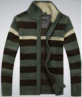 Commercio all'ingrosso-2015 nuovo casual inverno uomo cardigan uomo maglione uomo spesso in velluto maglieria in velluto con collo colletto misto abbigliamento caldo solido Plus size