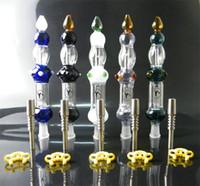 Collector de néctar de cristal Kit Concentrado Tubo con punta de titanio GR2 Clavo de titanio de 14 mm Tamaño de la articulación Clip de plástico como regalo