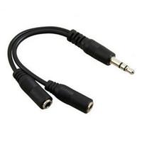 도매 승진 1 2 3.5mm의 이어폰 헤드폰 스플리터 케이블 오디오 어댑터 잭 20cm 100PCS / 많은에