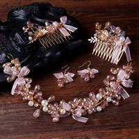 Copricapo di fiori fatti a mano di colore dell'oro Nuziale perla nuziale e fasce di cristallo per gli accessori dei capelli degli accessori per capelli della sposa