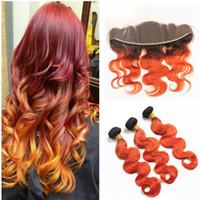 Brazylijski Ombre Kolor Pomarańczowy Kolor Body Wave Dziewiczy Włosy Splatki z uchem Do Ear Frontal 1B 350 Wiązki Human Włosów z Koronką Czołową