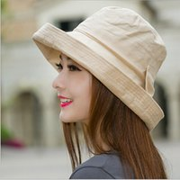 Wholesale-2015 Korean cotton sun hat Anti UV Crimping fisherman basin cap stylish  summer hats chapeau femme Free Shipping 05373c2c2a3