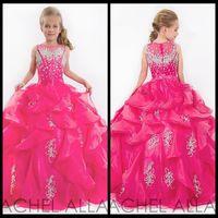 2015 милые блики маленьких девочек, театрализованные платья детей принцесса блестящие тяжелые бисером дети платье девушки цветка фуксия детские платья выпускного вечера