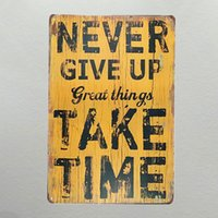 DL- Metal painting Never give up great things take time art w...