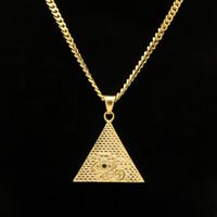 """Schmuck Stailess Stahl Dreiecksform alten ägyptischen Auge des Horus Anhänger Halskette vergoldet mit freien Kette 27 """""""
