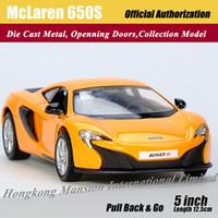 1:36 Escala Aleación Diecast Modelo de Coche de Metal Para McLaren 650S Colección Modelo Pull Back Roadster Toys Car - Orange / Blue / White / Yellow