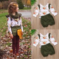 Kids Fall Boutique Clothing 2pcs Long Sleeve Shirt+ Short Pan...