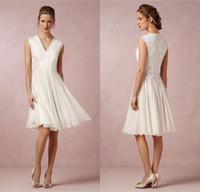 Top vendiendo una línea de longitud de la rodilla Vestido de novia de encaje Escote en V Escote Corto Gasa Recepción de fiesta de boda Vestidos Menos de 100