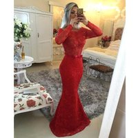 2015 Sheer Red Lace Mermaid Evening Dresses with Long Sleeves Off The Shoulder Beaded Top Backless Floor Length Formal Party Prom Gowns