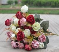 Rose de seda Manojo 30 cm / 11,81 pulgadas flor artificial fiesta de la boda del ramo de Peony nupcial pieza central de la decoración del hogar Jefes / Ramos de Bush