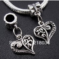 100pcs Tibétain Argent Amour Coeur Dangle Pendentif Charmes Pour Bracelet Collier Résultats De Bijoux De Mode Perles Faire Accessoires DIY A342