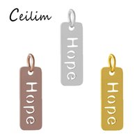 3 Colors Hollow Out Hope Word Stainless Steel Metal Pendants...