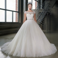 Ball Gown Cap Sleeves Crystal Wedding Dress With Belt Lace- u...