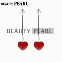 5 Pairs Red Heart Earrings Pearl Base Mounting 925 Sterling ...