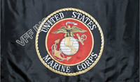 Schwarz USMC Marines Marine Corps Emblem Flagge 3ft x 5ft Polyester Banner Flying 150 * 90cm Benutzerdefinierte Flagge im Freien AF11