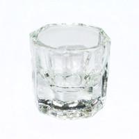 Atacado-Octogonal Forma Copo De Vidro Dappen Recipiente para Arcylic Nail Art Líquido Em Pó