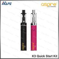 100% Original Aspire K3 Kit de Inicialização Rápida 2 ml K3 Tanque 1.8ohm Aspire Nautilus BVC Bobinas Com 800 mah K3 Bateria