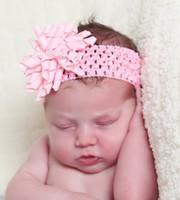 baby Christmas hair flower bows 3.5 inch korker bow with waffle Crochet headband clip newborn baby headbands infant hair band flowers PD011