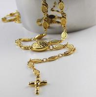 Estilo moderno 22 '' Collar de rosario de acero inoxidable de oro Cruz de la cadena de enlaces ovalados Unisex Friends regalos joyas nunca se desvanecen el tono