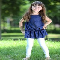 Pettigirl Retail New Arrival Navy Blue Girls Top And Pure Wh...