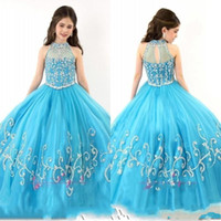 2019 Nouveau Rachel Allan Girls Pageant Robes Robe Sheer High High Crystal Cristal Manches Sans manches Turquoise Tulle Tulle Flower Robes 153