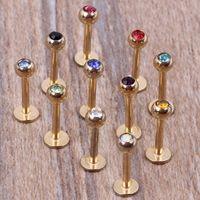 Gold Lippe bar 100pcs / lot 7 Farben Stahlkörper mischen labret piercing Schmuck Lippenring