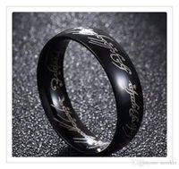 Top popular chapado en oro hobbit de acero inoxidable y el señor de la banda de anillo de cóctel de compromiso de boda tamaño 6 -13 regalos para hombres