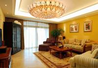 Luz de techo de cristal K9 tradicional Dorado E 14. La luz del techo de LED redonda deja la sala de estar.