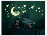 Neue Ankunft Leuchtende Mond und Sterne WallDecor Glow in The Dark Kinder Schlafzimmer Schöne Nachtleuchtende Dekorative 3D Wandaufkleber