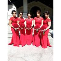 2016 красный Bateau Cap Willeves кружева русалка дешевые платья невесты платья без спинки полнометражные вечерние платья мода свадебное вечеринка платье выпускного вечера