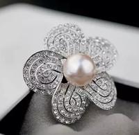 spilla a forma di diamante con fiore di perle da donna (41 * 41 mm) nnsssp)