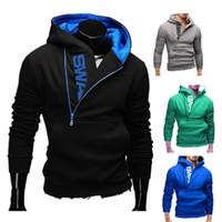 Sudadera con capucha talla grande M-5XL para hombres Cremallera con jersey Color de contraste Chaqueta con capucha de manga larga Abrigo 6 colores para primavera otoño