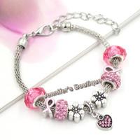 Neue Ankunfts-europäische Art-Brustkrebs-Bewusstsein Schmuck rosa Kristallherz PDR-Charme-Rosa-Band-Armbänder für Brustkrebs-Schmuck