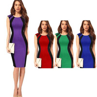 여자에 대 한 10pcs / lot DHL 배송 드레스 유럽 스타일 기질 하이 엔드 컬러 라운드 칼라 범프 민소매 힙합 접합 연필 드레스