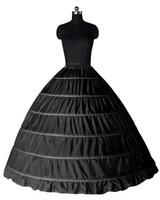 Белый Черный бальное 6 обручей Petticoat Свадьба скольжения Crinoline Люкс Underskirt скольжению 6 Хооп юбка кринолин для Quinceanera платье CPA206