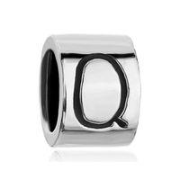 Cilíndrico Em forma de letra inicial Q R S T U V W X Y Z Alfabeto europeu Charme Pulseiras Pandora Chamilia Compatível