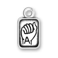 Envío gratis Nueva moda Fácil de diy 20 unids DIY letras del lenguaje de señas A a F joyería del encanto que hace apto para el collar o pulsera