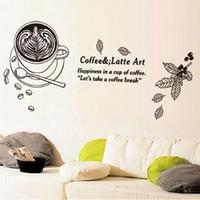 Кофе латте искусство стены настенной росписи декор стикер счастье в чашке кофе давайте кофе-брейк стены цитата наклейка сообщение стены аппликация